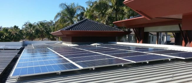 Solar Panels installed directly to a flat roof at Nerang on the Gold Coast