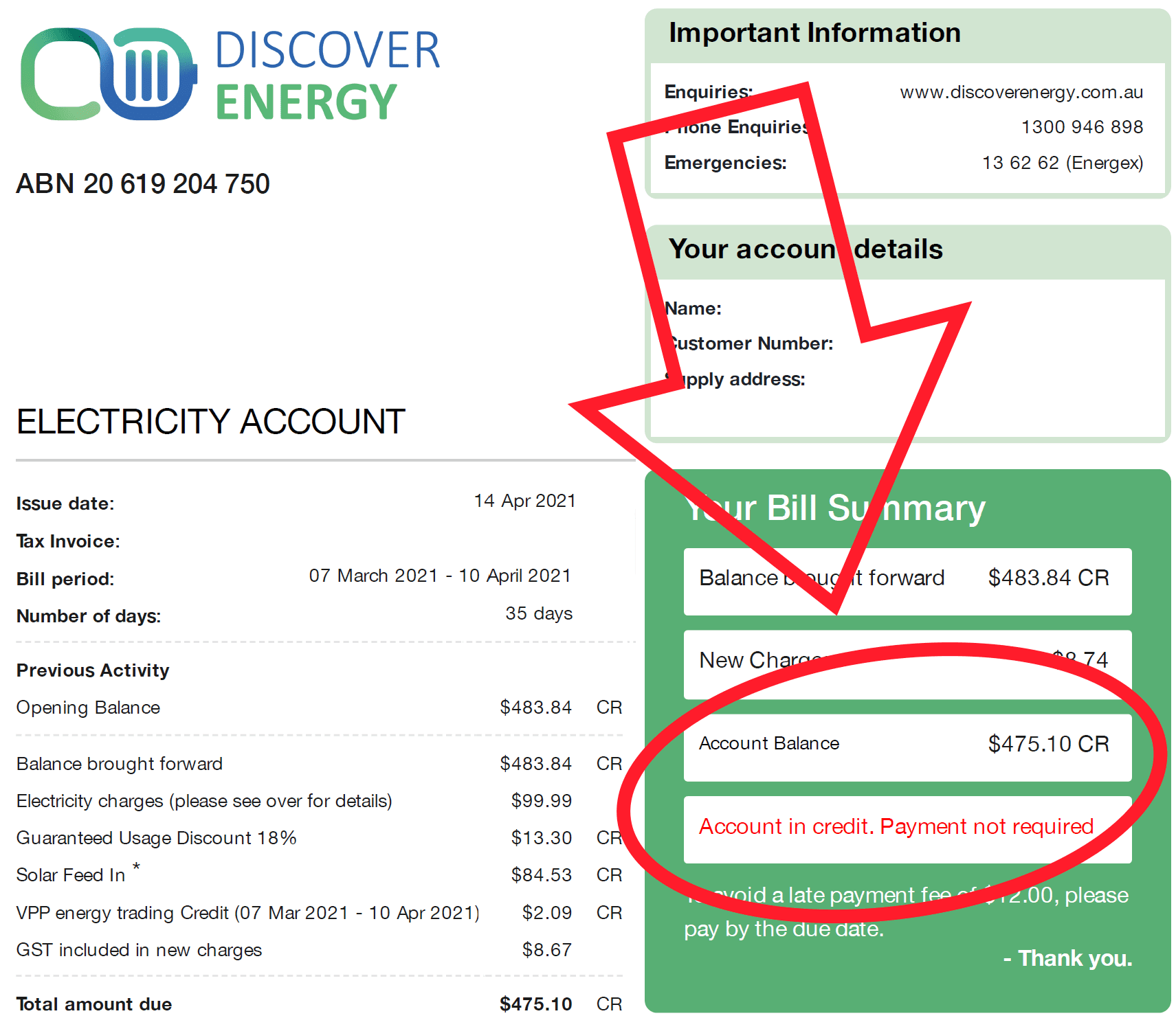 Power bill with Discover Energy