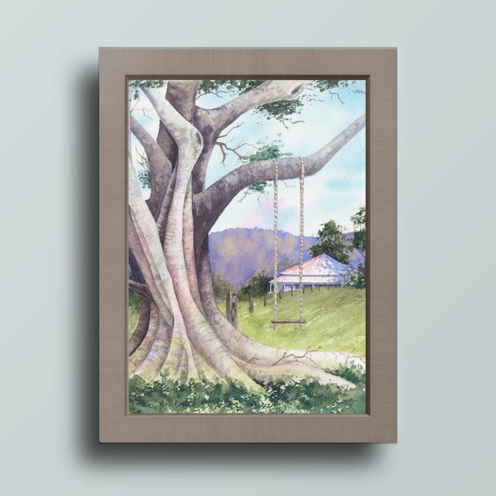 Fig Tree Swing watercolour by Nikki Rogers
