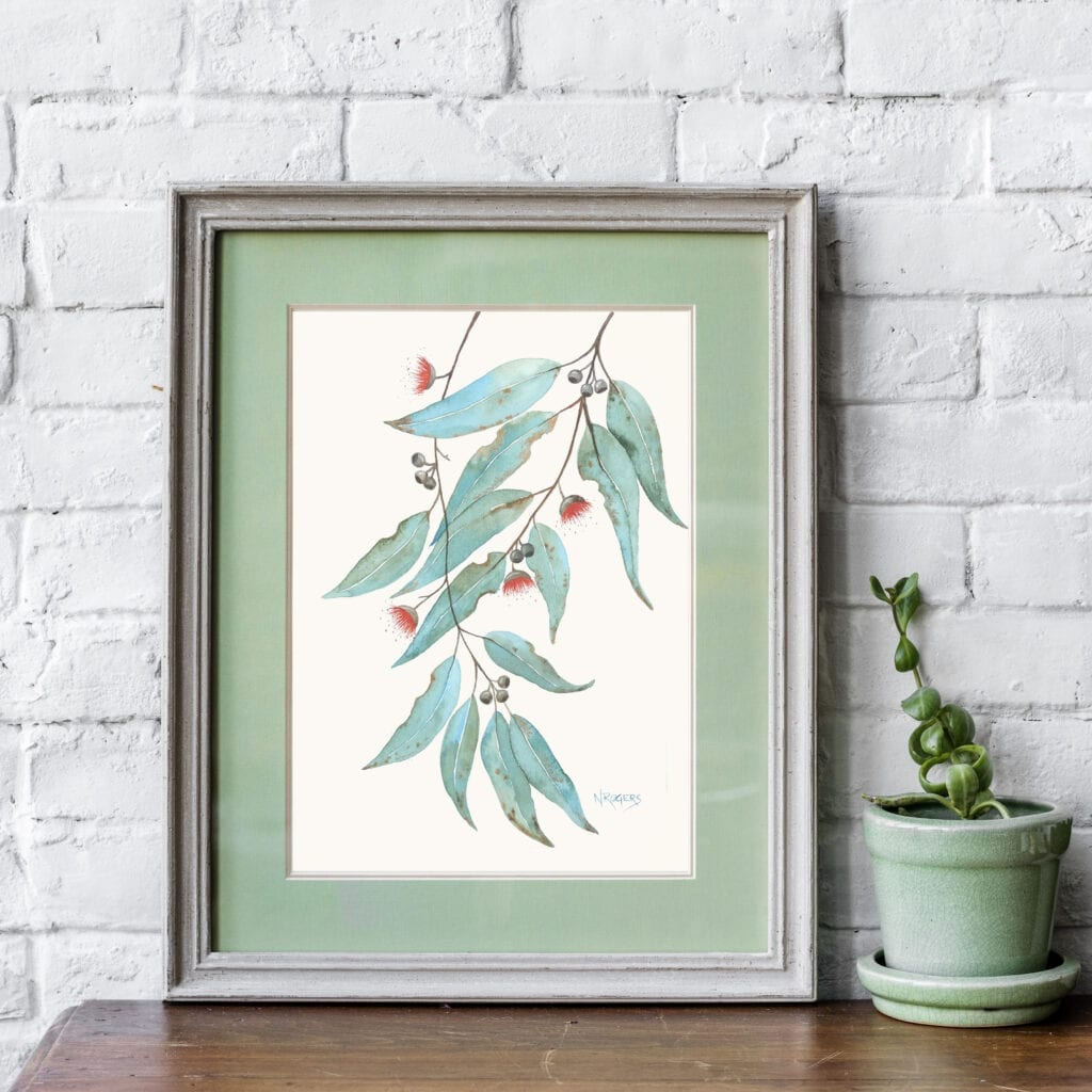 Watercolour gum leaves by Nikki Rogers
